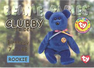 TY Beanie Babies BBOC Card - Series 1 Birthday (GOLD) - CLUBBY the Bear (Rookie)