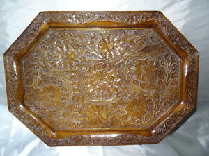 Antique-Style-Hand-Carved-Wooden-Oak-Plaque-Rococo-Floral-Sunflowers