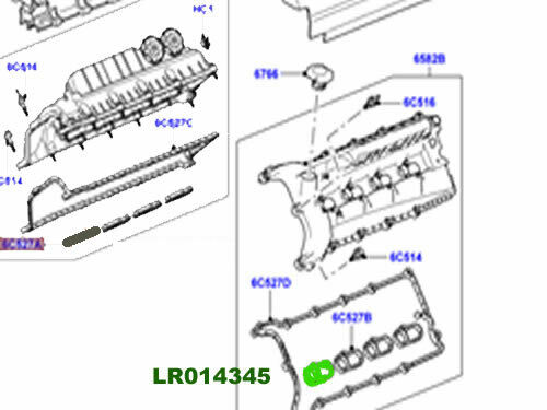 LAND ROVER VALVE COVER LOWER GASKET SPORT 10-13 RANGE ROVER 10-12 LH LR014345