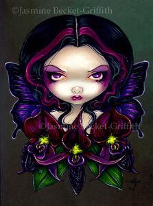 Jasmine Becket-Griffith art print SIGNED Black Orchid Fairy flower gothic fairie