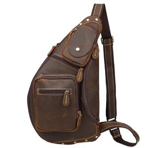 Image Is Loading Men 039 S Large Leather Sling Backpack Cross