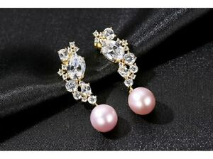 925 Sterling Silver Plated Natural Freshwater Pearls Dangle Earrings white