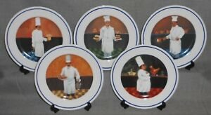 Set-5-Williams-Sonoma-GUY-BUFFET-CHEF-SERIES-PATTERN-Salad-Plates-JAPAN