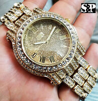 Men Best Hip Hop Iced out Luxury Gold Tone Bling Simulated Diamond Rapper Watch
