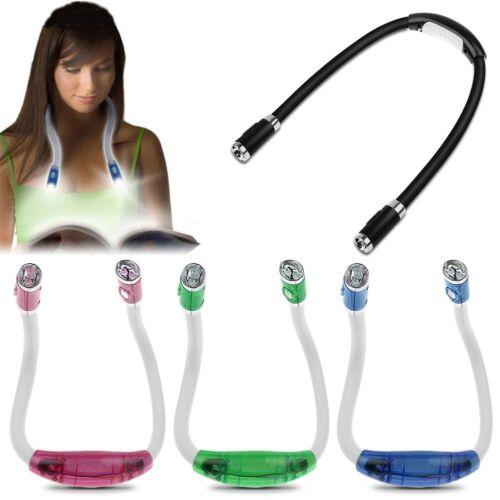 Flexibel einstellbar Lesebuch 4 LED-Licht Hals Nachtlampe Fackel Blau Licht nett