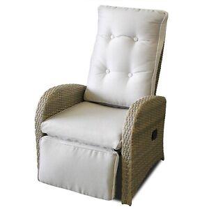 Détails sur Rotin Synthétique Fauteuil Salon Jardin Fauteuil Incl.  Rembourrage de siège Relax fauteuil graubeige- afficher le titre d\'origine