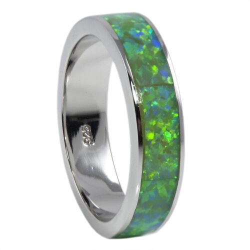 Sterling Bague en Opale Vert Créé Opal Bande Rhodium Plating Taille 9