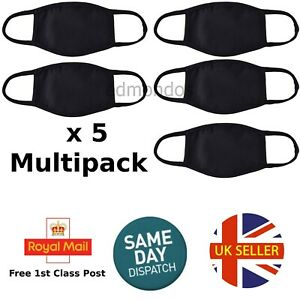 Pack 5 Face Mask Black Reusable Washable Breathable Cover Cotton Uk Multipack Ebay