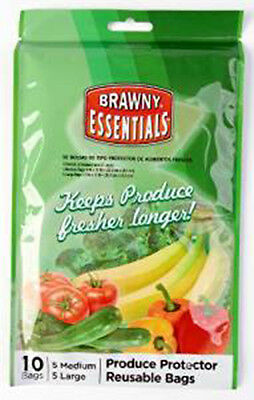 Brawny Produce Protector Reusable Bags Set of 10 ct each 5 PACK