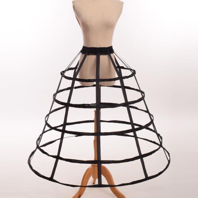 3 Hoop Full Dress Crinoline Cage Bustle Lady Wedding Gown Pannier Petticoat