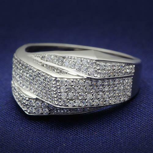 S018 Triple Row Outstanding Sterling Silver Simulated Diamond Ring Micro Pave
