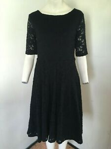 PRETTY-Black-Lace-Over-Effect-Skater-Dress-By-Collection-First-Avenue-Size-12