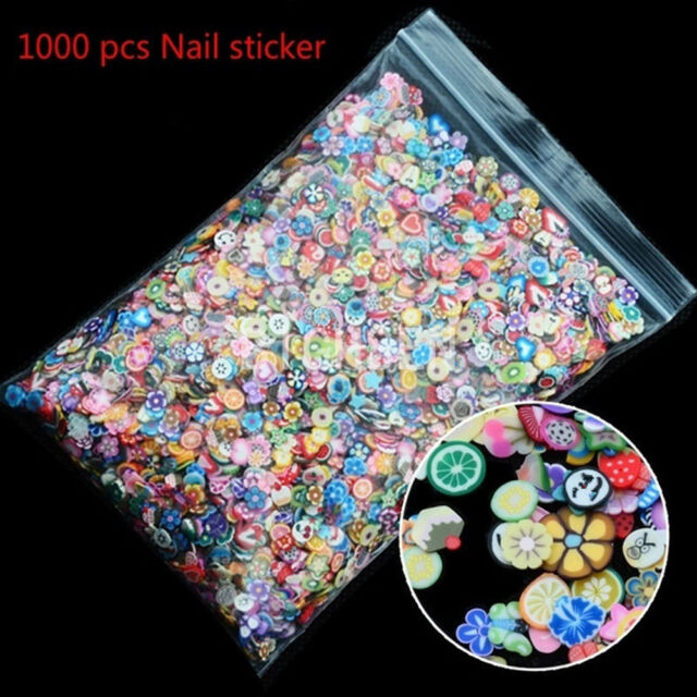 1000pcs 3D Fruit Animals Fimo Slice Clay DIY Nail Art Tips Sticker DecorationP&C