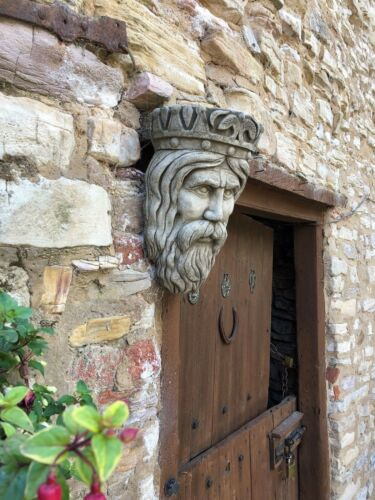 Kings Head Stone JARDINIERE Ornement plaque murale wall hanging sculpture jardin//maison