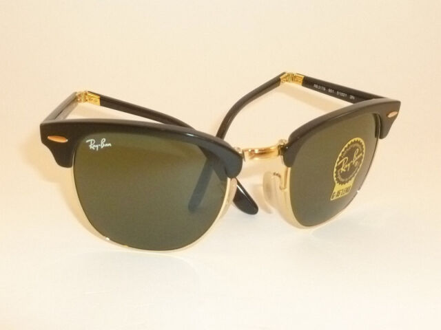 New RAY BAN Sunglasses Folding Clubmaster Black Frame RB 2176 901 G-15  Lenses 66805c1d9c