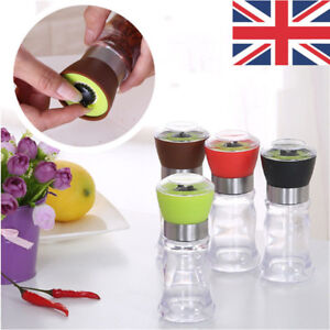 dbf5af32a3d5 Details about 1/2 Pcs Salt and Pepper Grinder Kitchen Mill Brushed Plastic  Bottle Glass Spices
