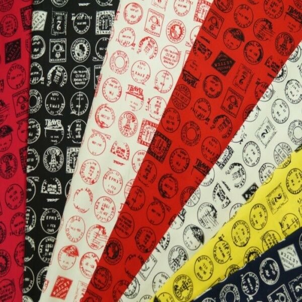 Vintage Ink Stamps From Around The World 100% Cotton Fabric