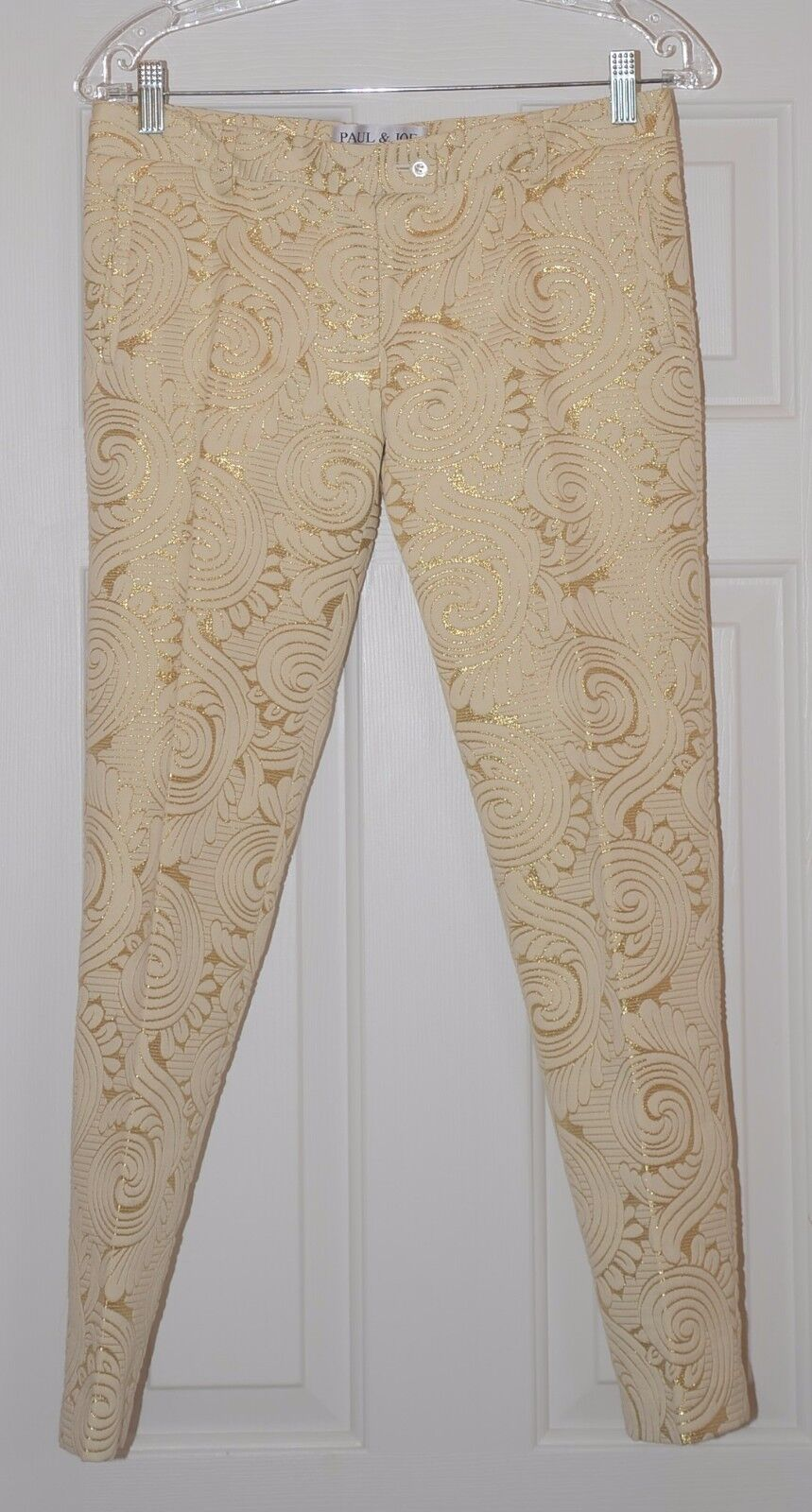 365 new Paul & Joe Paris Capri Pants Metallic gold Swirl 36 Rare vintage