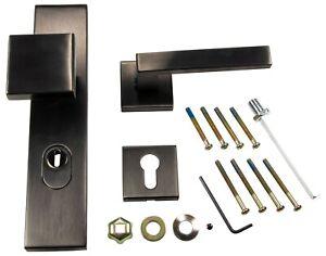 Schutzbeschlag-Haustuer-Tuergriff-Wechselgarnitur-Druecker-Knopf-schwarz-PDV-matt