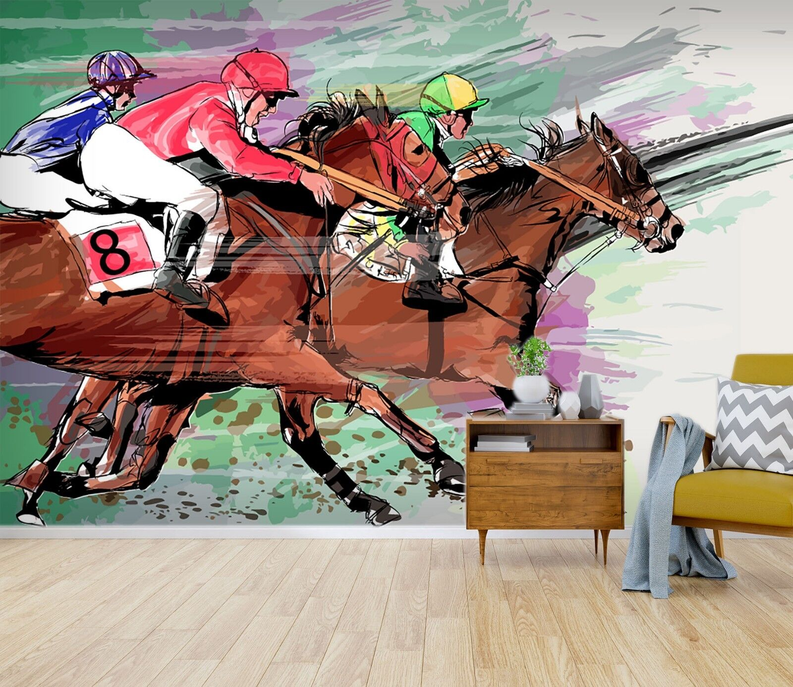 3D Horse Racing Athlete 56 Wall Paper Wall Print Decal Wall Deco Indoor Murals