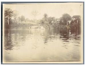 Cote-d-039-Iivoire-Bateau-a-vapeur-sur-la-riviere-Vintage-citrate-print