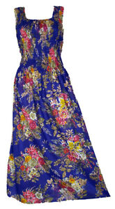 Blu-100-Cotton-Long-Boho-Maxi-Dress-Party-Evening-Size-14-16-18-20-22-24-April