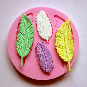 Feather-Silicone-mold-Resin-Polymer-Clay-Fondant-Cake-Chocolate-Mould-DIY