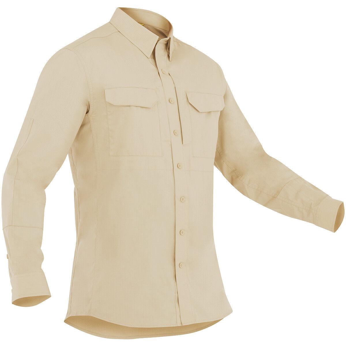 First Tactical Mens Specialist Long Sleeve Tactical Shirt Military Uniform Khaki