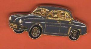 Pin-039-s-pins-lapel-pin-Auto-Car-Voiture-RENAULT-DAUPHINE-Gris-Fonce-Base-Dore