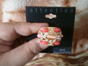 CLOSEOUT-SALE-Imported-From-USA-9-99-Attention-Gold-amp-Orange-Cocktail-Ring
