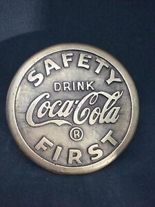 Coca-Cola Safety First Brass Sidewalk Marker School Crossing Sign