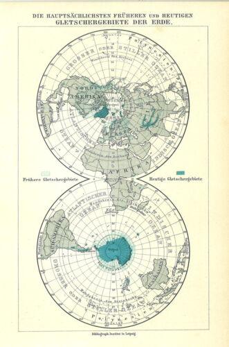Die hauptsächlichen .. Mkl7 Alte Landkarte 1910 Gletschergebiete der Erde.