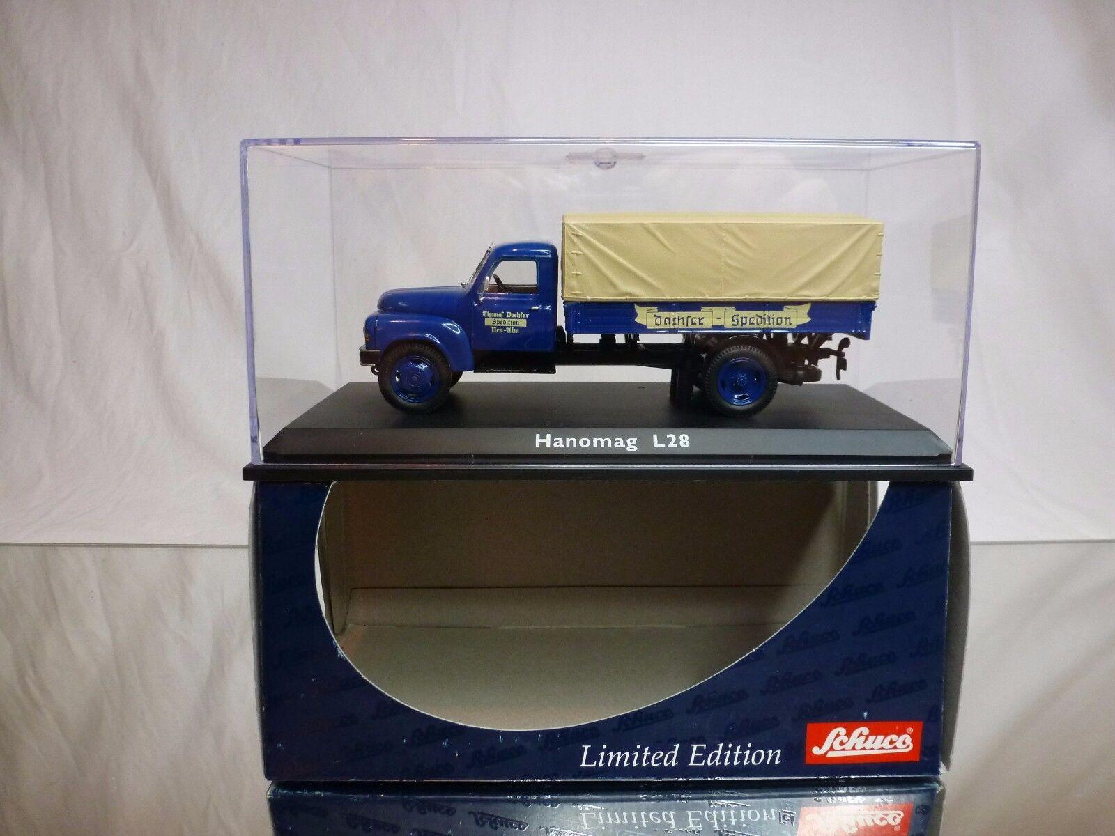 SCHUCO 02923 HANOMAG L28 - DACHSER SPEDITION - blu 1 43 - EXCELLENT IN BOX