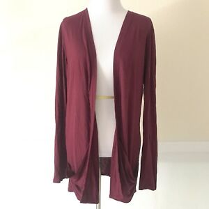 Esprit-EDC-Open-Front-Cardigan-Sweater-Womens-Size-LARGE-Long-Sleeve-Maroon