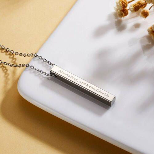 Never Give Up Personalized Engraved Stainless Steel Custom DIY Pendant Necklace