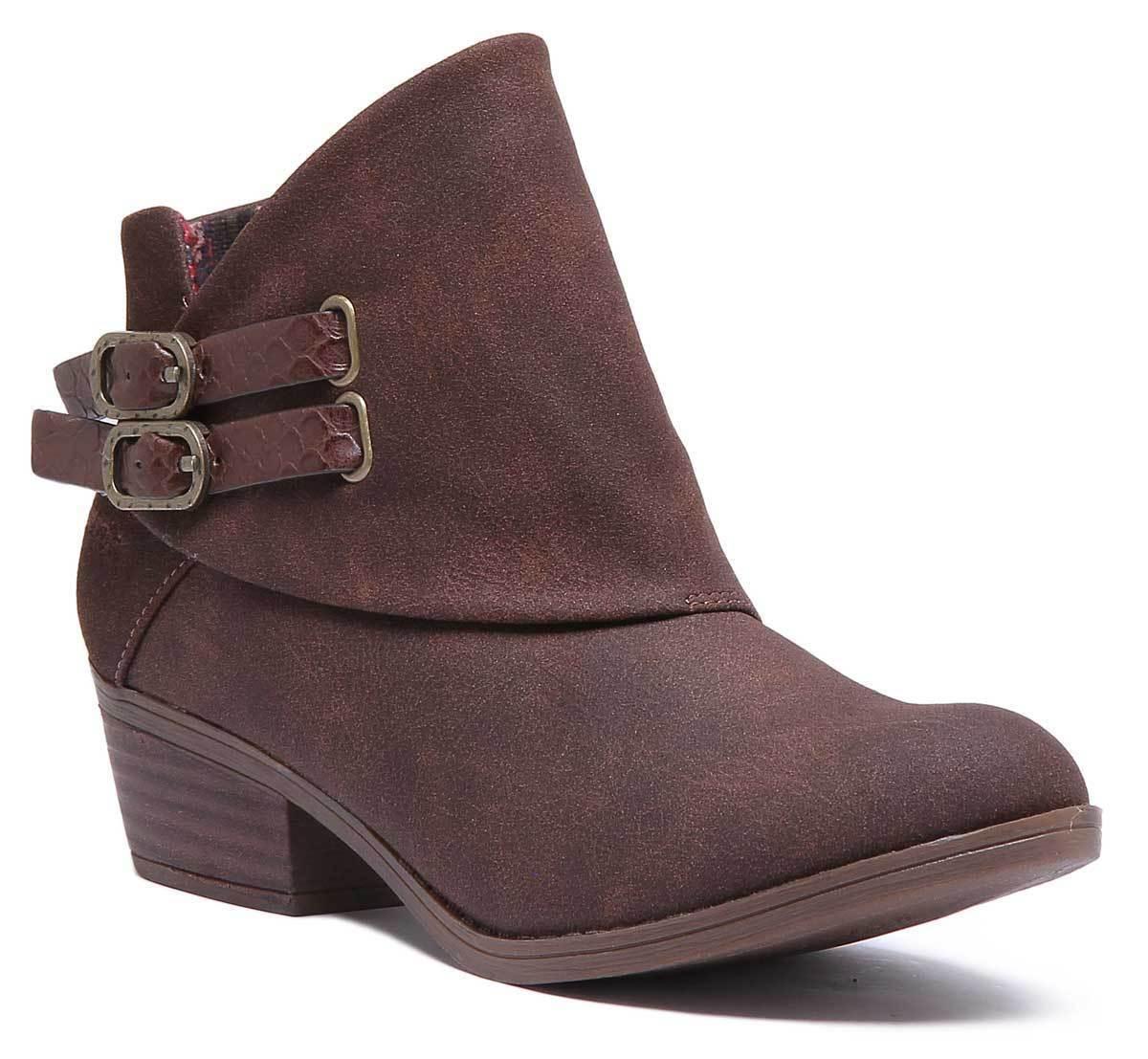 Blowfish Sistee damen Synthetic Leather Tobacco braun Ankle Stiefel UK Größe 3 - 8
