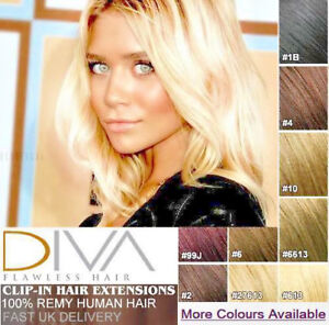 100-Real-Remy-Human-Hair-Extensions-Full-Head-Clip-in-Best-Weft-Highlight-UK-L