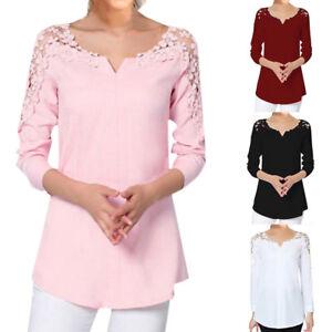 9b3705b0f252f6 Women Plus Size Solid Blouse Lace Splice Shirt Cold Shoulder Blouse ...