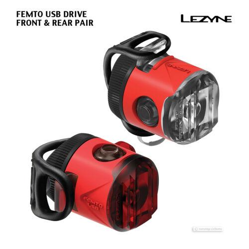 Red Nouveau Lezyne FEMTO Lecteur USB paire DEL Vélo Avant /& feu Arrière Set