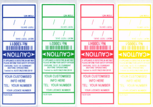 INCLUDES FREE CUSTOMISING LABELS APPLIANCE TEST TAGS 1000 ELECTRICAL