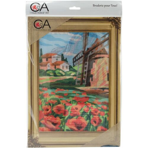 Collection D/'art Stamped Needlepoint Kit 38x24cm-windmill And Poppies