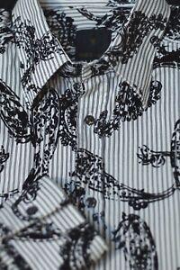 Charles-G-Bailey-Men-039-s-White-Black-Velvet-Paisley-Cotton-Casual-Shirt-L-Large