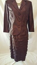 2 pc London Times Womens Chocolate Brown Jacket and Tiered Layer Skirt Suit 10