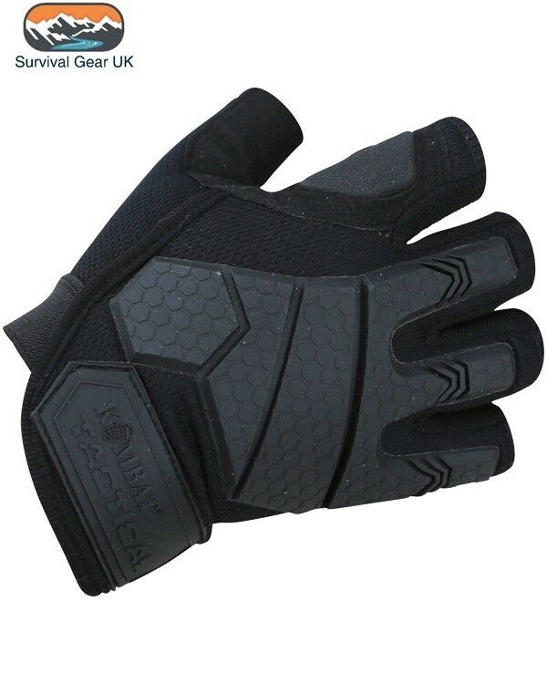 Black Alpha Tactical Military Fingerless Gloves Micro Fibre Palm Rubber Knuckle