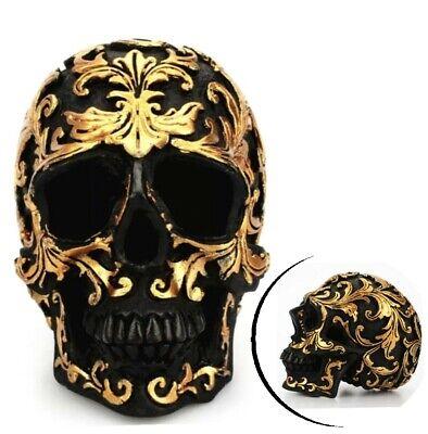 3D Totenkopf Dekoration Schwarz Goldfarbe Totenschädel Schädel Skull Deko Objekt