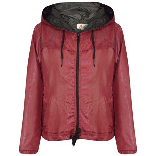 Kids Girls Boys Wine Hooded Raincoat Cagoule Lightweight Jacket Rain Mac 5-13 Yr