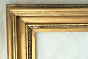 "Antique Fits 9 X 19"" Lemon Gold Gilt Picture Frame Wood Gesso Fine Art Country"