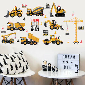 Construction-Vehicules-Wall-Stickers-Decals-Tracto-Pelle-Pelleteuse-Bulldozer-camion-A-faire-soi