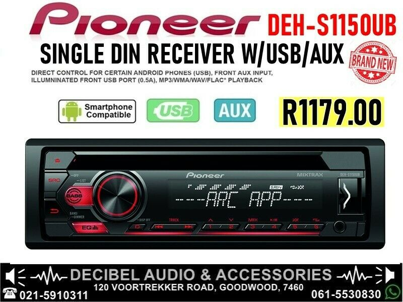Pioneer DEH-S1150UB Mp3 Car CD Player with USB/Android & Front Aux