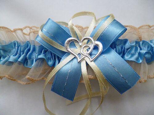 Strumpfband Braut blau creme mit Schleife Herzchen Silbernaht Hochzeit Neu EU